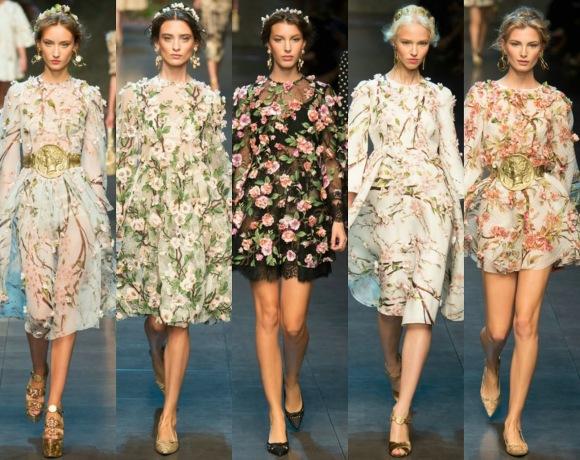 Flores sicilianas y aplicaciones 3D en el desfile de los italianos Dolce & Gabbana