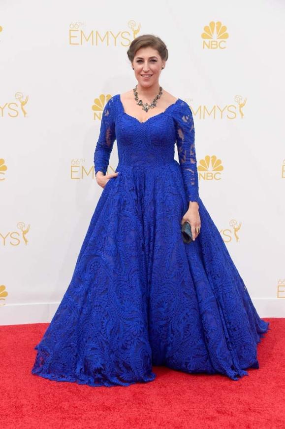 Mayim Bialik eligió un vestido de encaje azul eléctrico de Oliver Tolentino