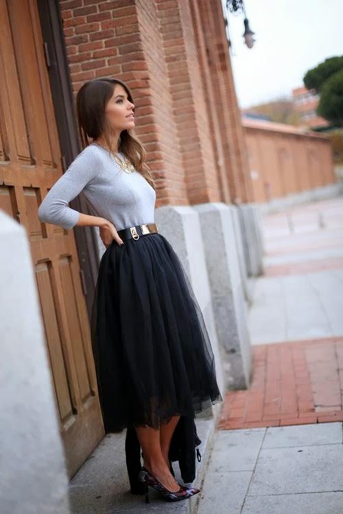 falda midi midi skirt look entretiempo outfit otoño invierno transición