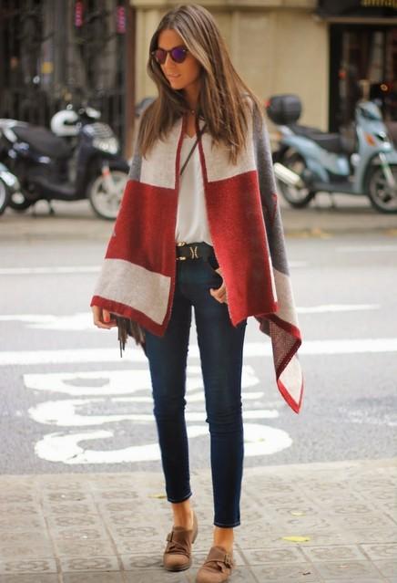poncho look entretiempo outfit otoño invierno transición